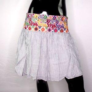 Signature Studio Striped Skirt with Embroidery